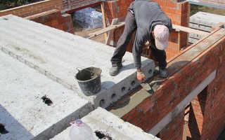Размер опирания плит перекрытия на стены