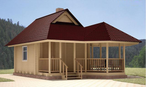 Трехскатная крыша террасы
