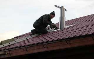 Кирпичная труба на крыше защита от дождя